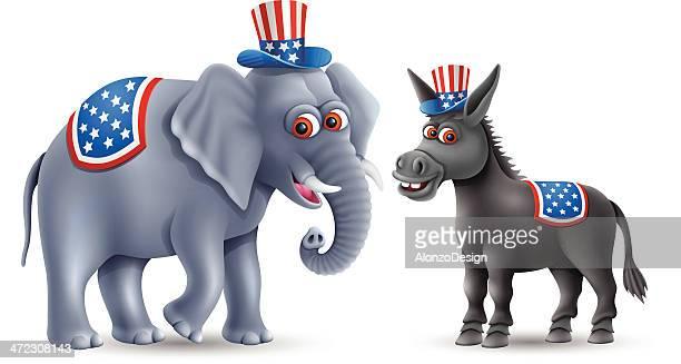 donkey and elephant - donkey stock illustrations, clip art, cartoons, & icons