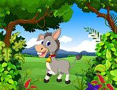 donkey cartoon with landscape background