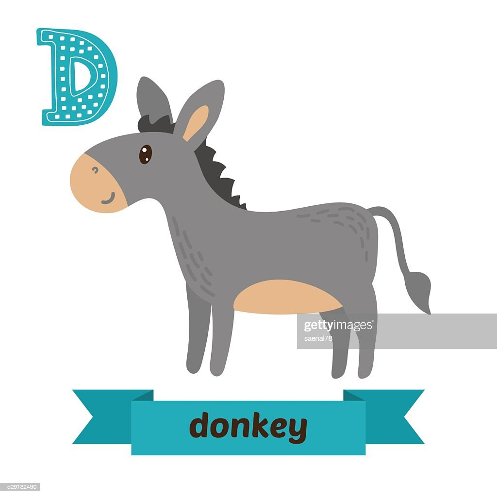 Donkey. D letter. Cute children animal alphabet in vector. Funny