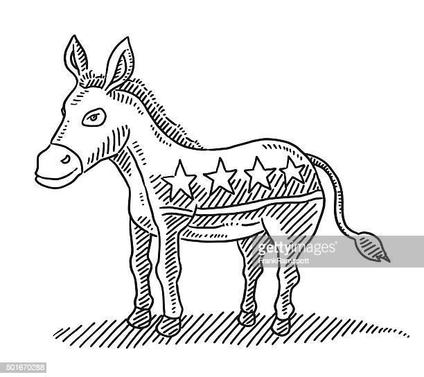 donkey democratic party symbol drawing - donkey stock illustrations, clip art, cartoons, & icons