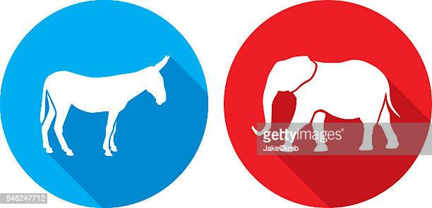 donkey elephant icon silhouettes - donkey stock illustrations