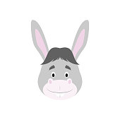 Donkey face in cartoon style for children. Animal Faces Vector illustration Series