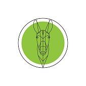 Donkey head on green round.