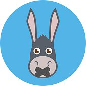 Donkey Head With Mouth Sealed. Shut up concept. Flat design.