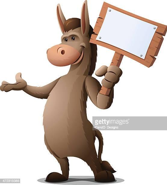 ilustraciones, imágenes clip art, dibujos animados e iconos de stock de burro: señal de sujeción - mula