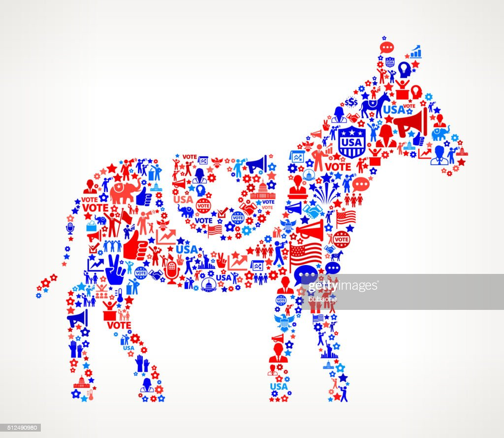 https://media.gettyimages.com/vectors/donkey-vote-and-elections-usa-patriotic-icon-pattern-vector-id512490980