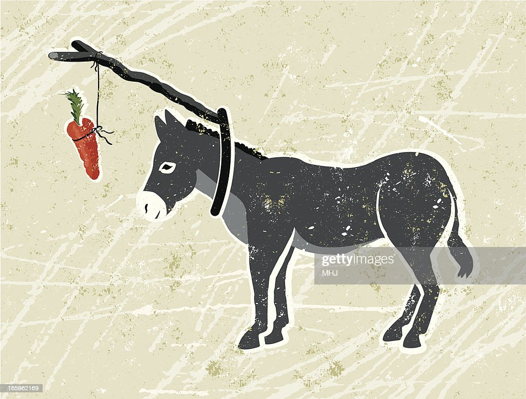 Donkey with Carrot and Stick : stock vector