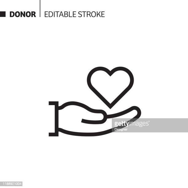 illustrazioni stock, clip art, cartoni animati e icone di tendenza di icona linea donatore, illustrazione simbolo vettore contorno. pixel perfetto, tratto modificabile. - donazione