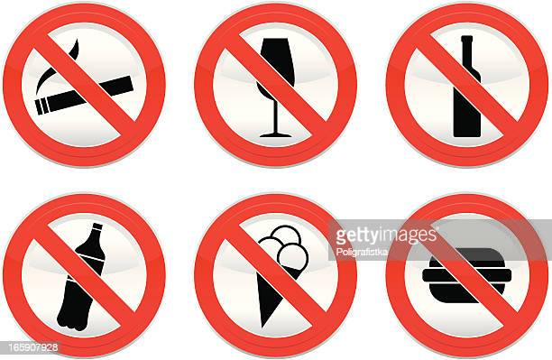 don't drink, smoke and food - forbidden stock illustrations