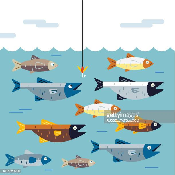 dont get hooked - fish stock illustrations