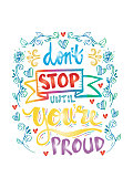 Don't stop until you're proud motivational quote