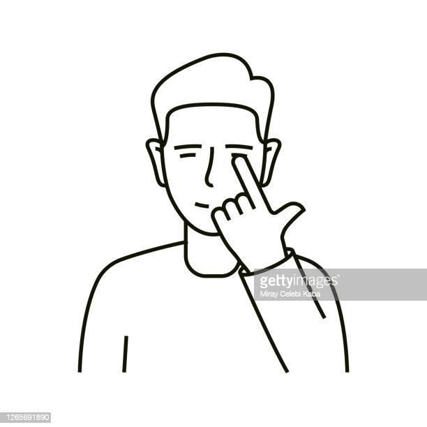 ilustraciones, imágenes clip art, dibujos animados e iconos de stock de icono de línea de no tocar los ojos - evitar