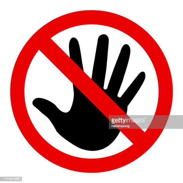 don't touch sign - touching stock illustrations