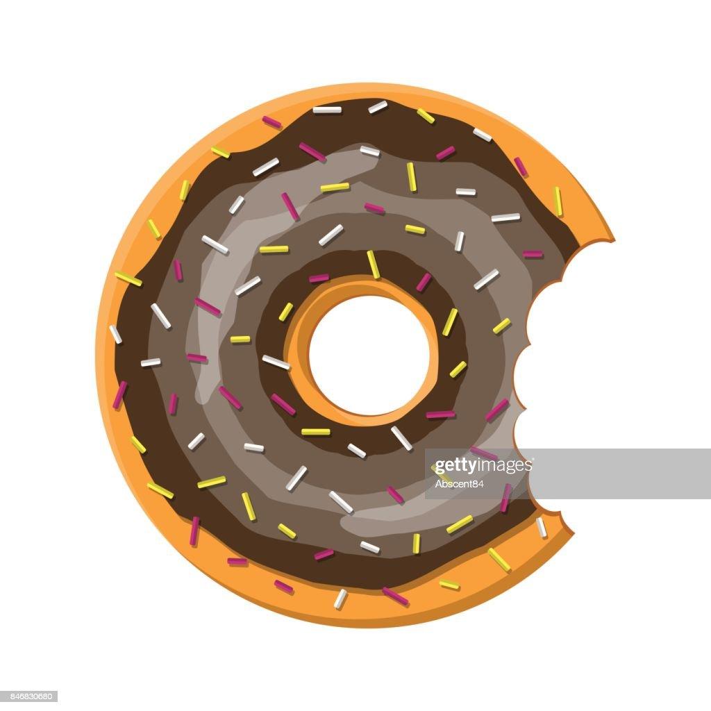Donut cake set isolated on white background.