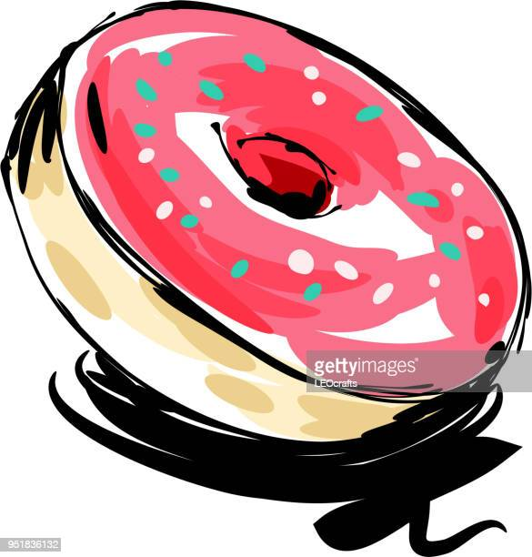 donut drawing - donut stock illustrations, clip art, cartoons, & icons