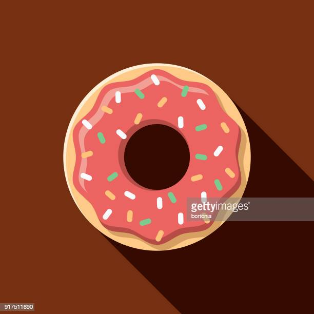 donut flat design baking icon - donut stock illustrations, clip art, cartoons, & icons