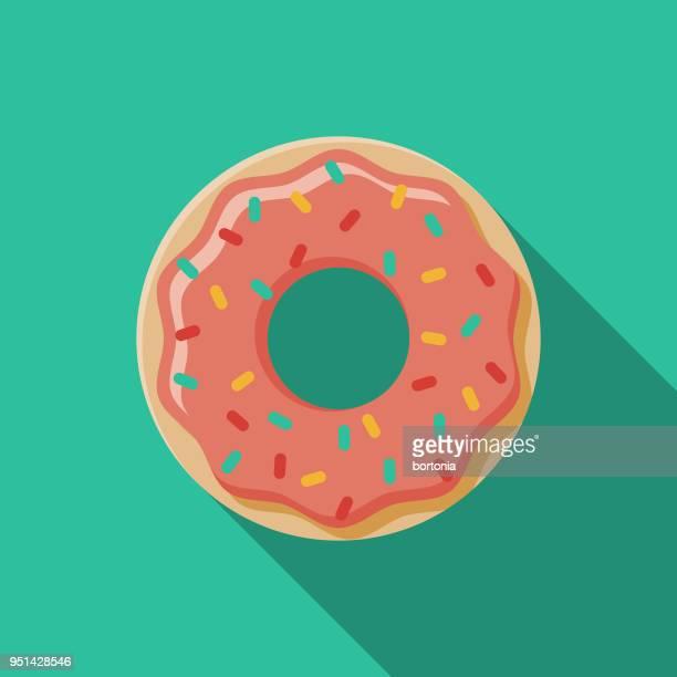 ilustrações, clipart, desenhos animados e ícones de ícone de carnaval de design plano de donut com sombra do lado - glazed food