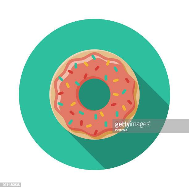donut flat design carnival icon with side shadow - donut stock illustrations, clip art, cartoons, & icons