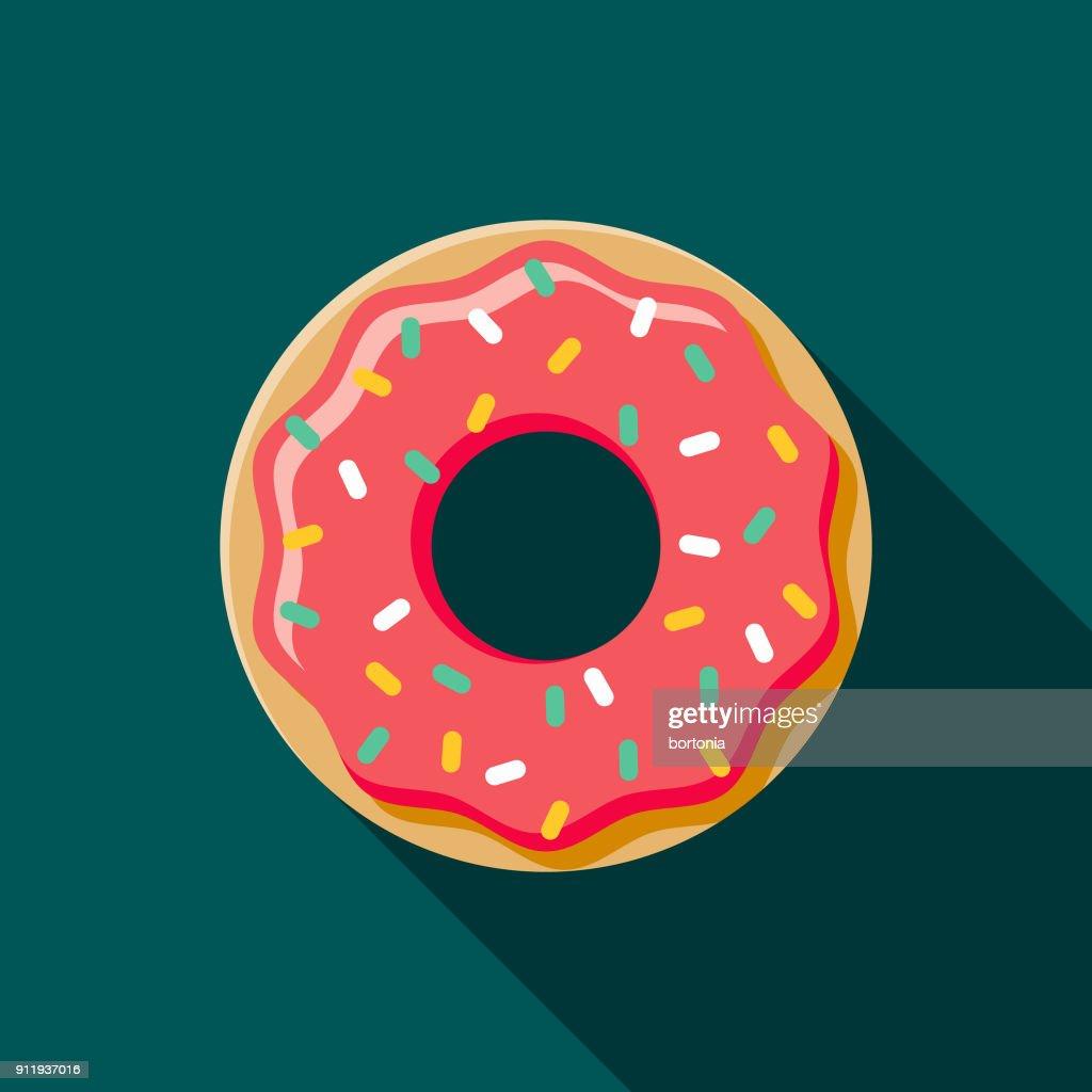 Donut Flat Design Coffee & Tea Icon : Stock Illustration