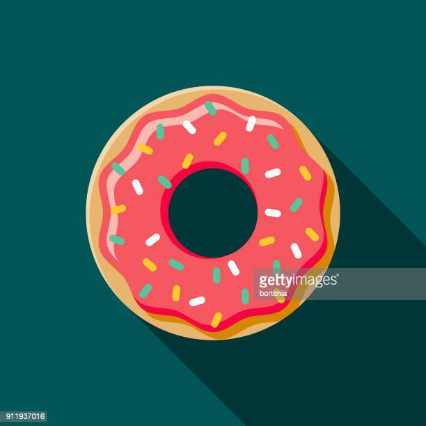 donut flat design coffee & tea icon - unhealthy eating stock illustrations
