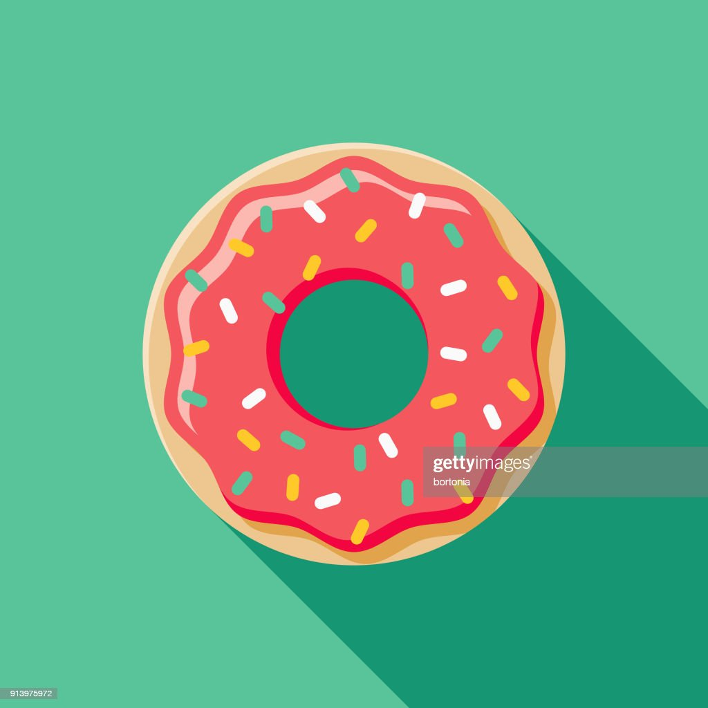 Donut Flat Design Fast Food Icon : stock illustration