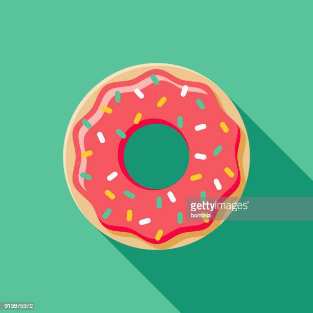donut flat design fast food icon - donut stock illustrations, clip art, cartoons, & icons