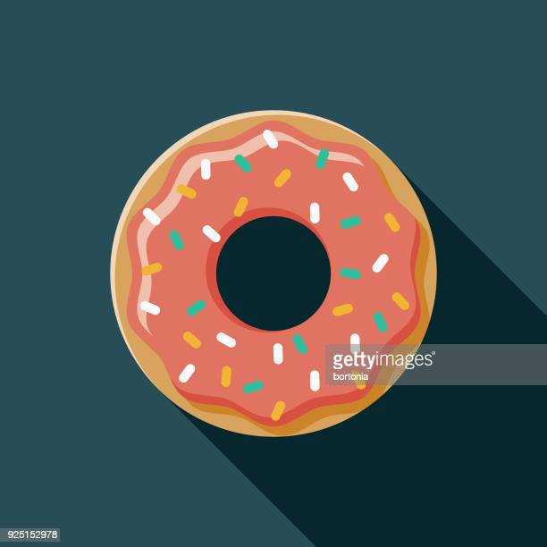 donut flat design usa icon with side shadow - donut stock illustrations, clip art, cartoons, & icons