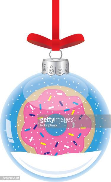 donut glass christmas ornaments - donut stock illustrations, clip art, cartoons, & icons