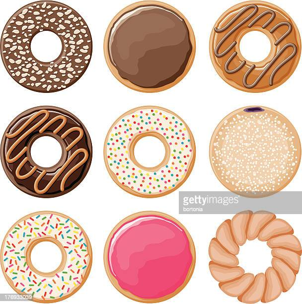 donut icon set - donut stock illustrations, clip art, cartoons, & icons