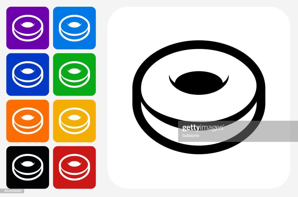 Donut ícone quadrado botão Set : Ilustração