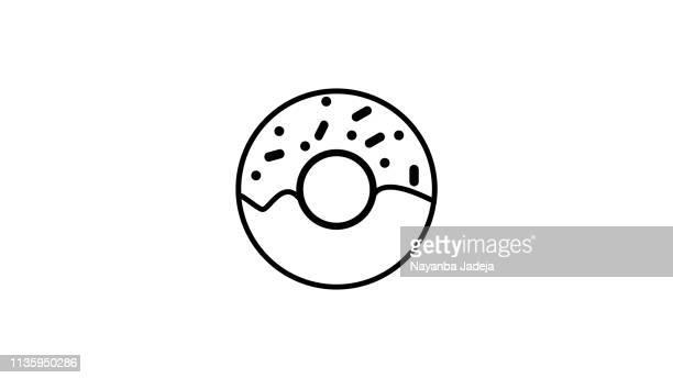 donut icon - glazed food stock illustrations, clip art, cartoons, & icons