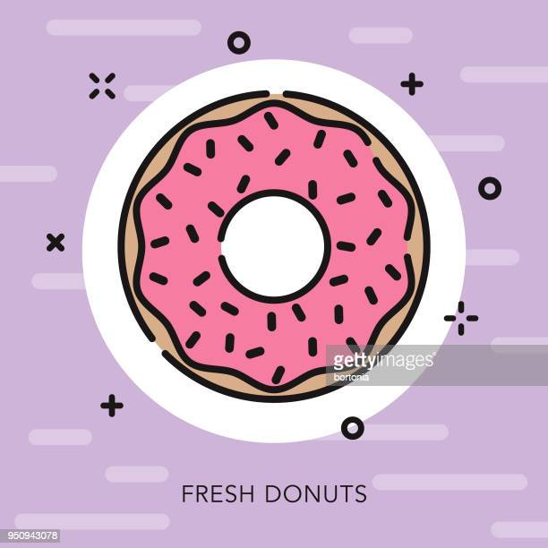 donut open outline street food icon - donut stock illustrations, clip art, cartoons, & icons