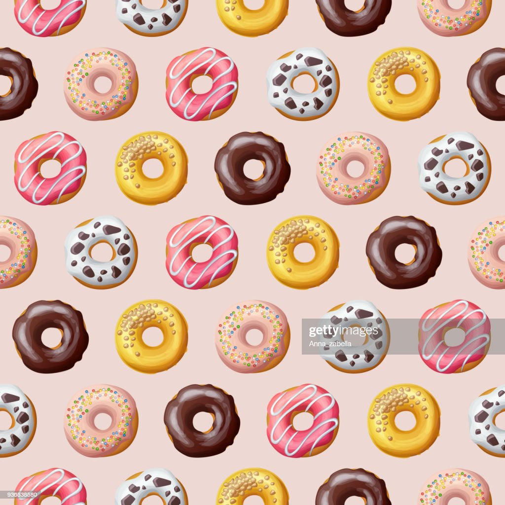 Donut seamless pattern. Vector illustration