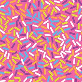 Donut sweet glaze seamless pattern with coconut shavings topping
