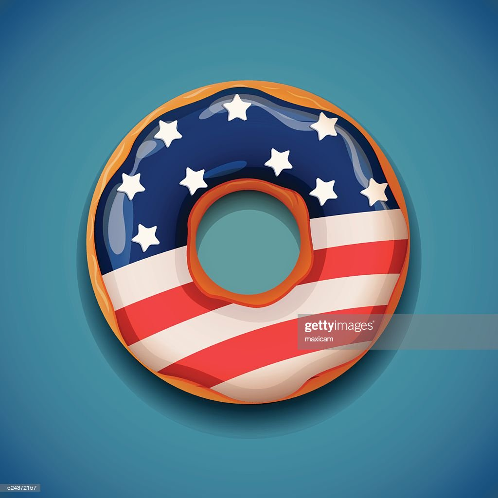 Donut with flag of USA