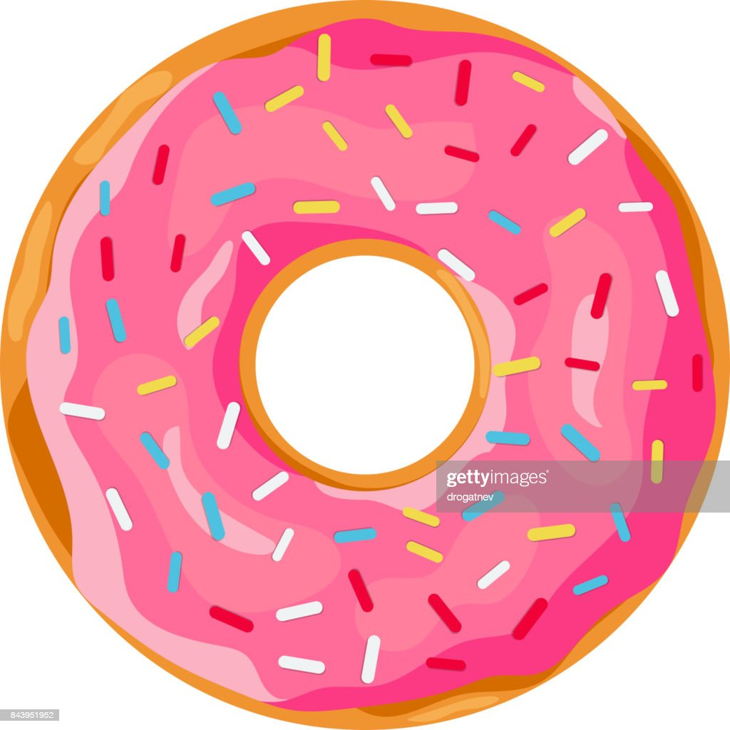 donut with pink glaze.