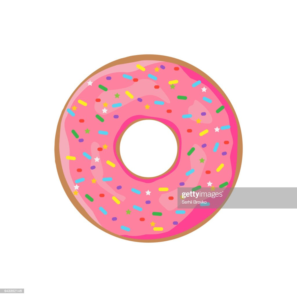 Donut with sprinkles isolated on white background. Vector illustration.
