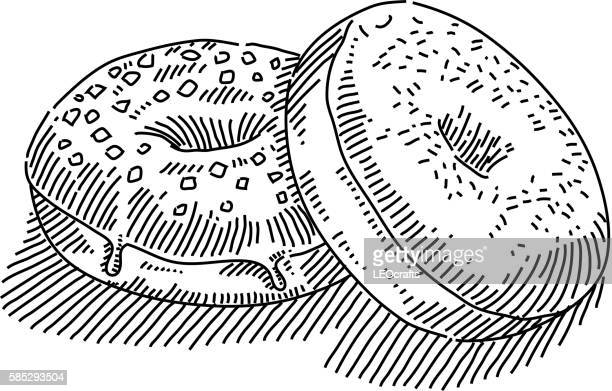 donuts drawing - donut stock illustrations, clip art, cartoons, & icons