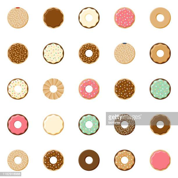donuts icon set - donut stock illustrations, clip art, cartoons, & icons