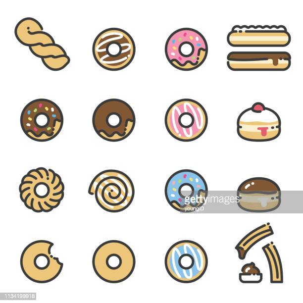 donuts - line art icons - donut stock illustrations, clip art, cartoons, & icons