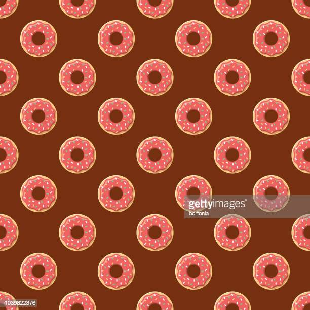 donuts seamless pattern - donut stock illustrations, clip art, cartoons, & icons