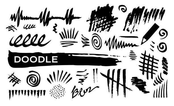 doodle abstract lines - doodle stock illustrations