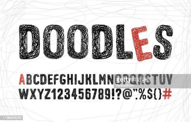 illustrazioni stock, clip art, cartoni animati e icone di tendenza di illustrazione dell'alfabeto doodle. - abc