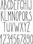 Doodle alphabet, vector simple hand drawn letters
