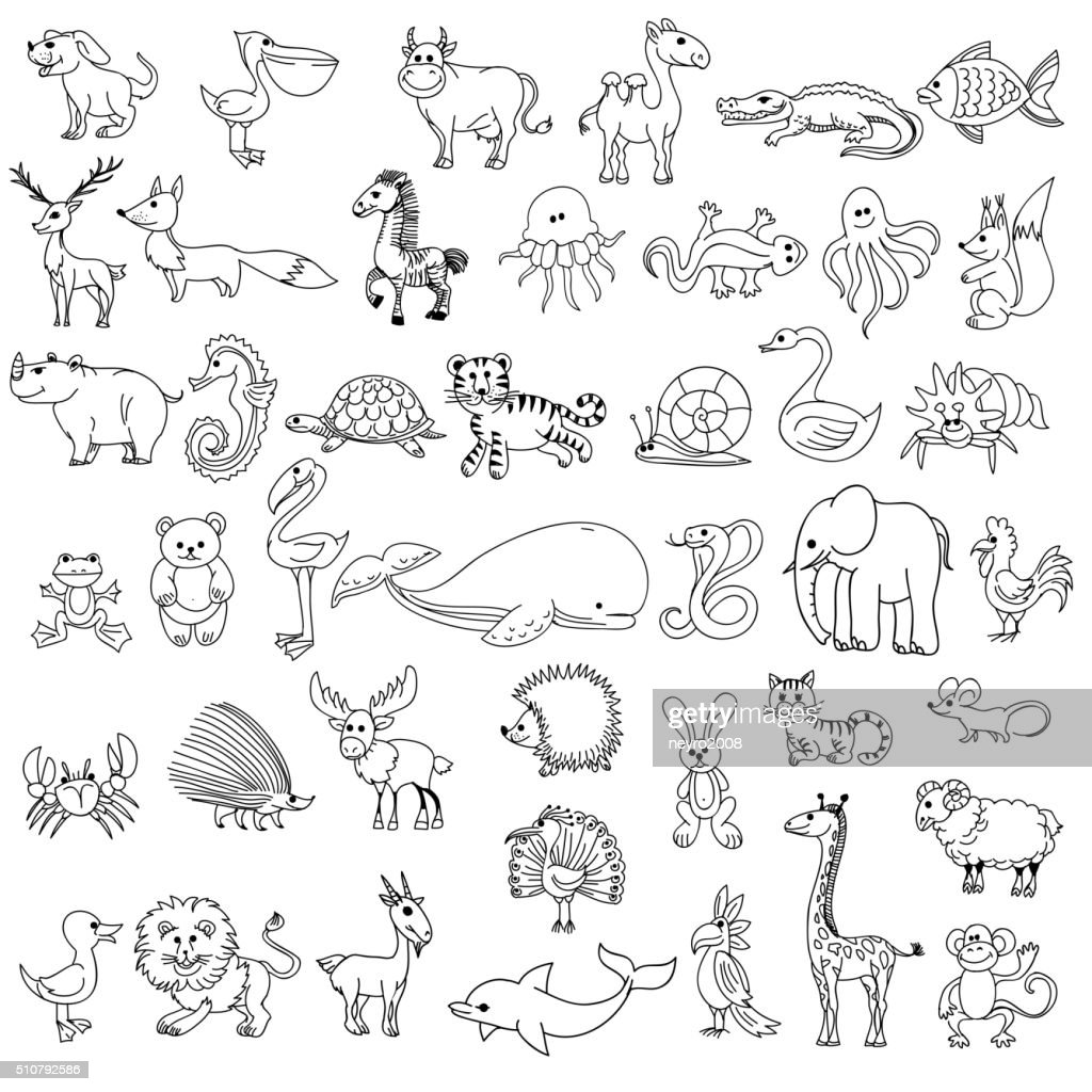 Doodle animals childrens drawing
