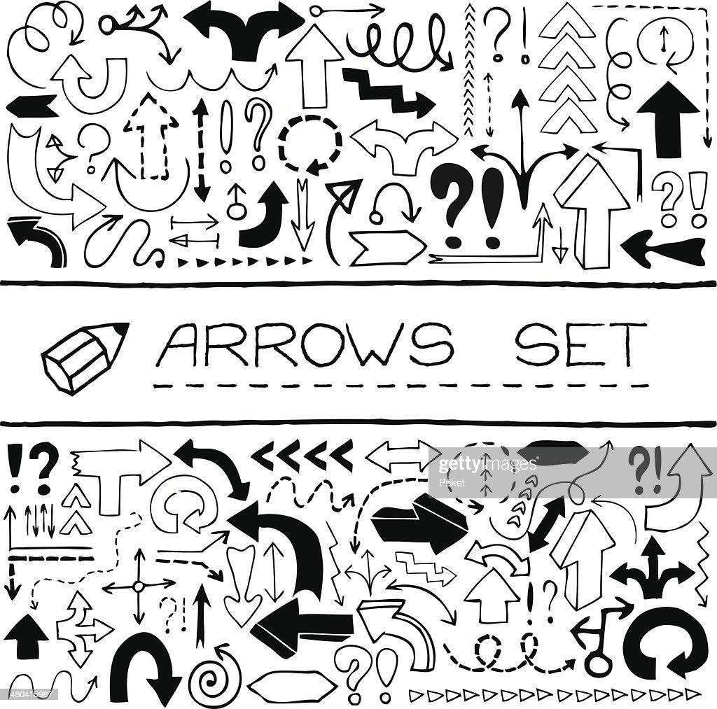 Doodle arrows set.