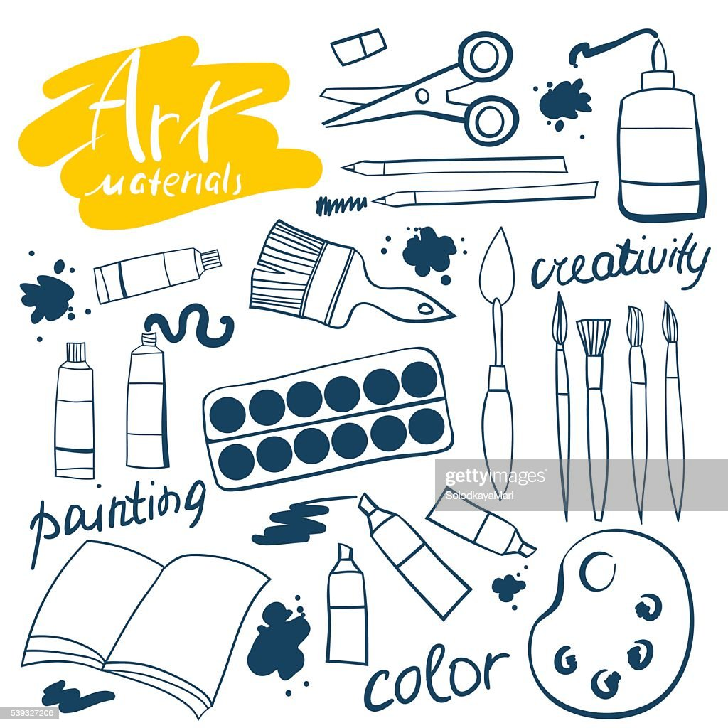 Doodle art materials collection. Hand drawn art icons set.