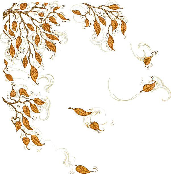 Doodle Autumn Leaves Corner Element Wall Art