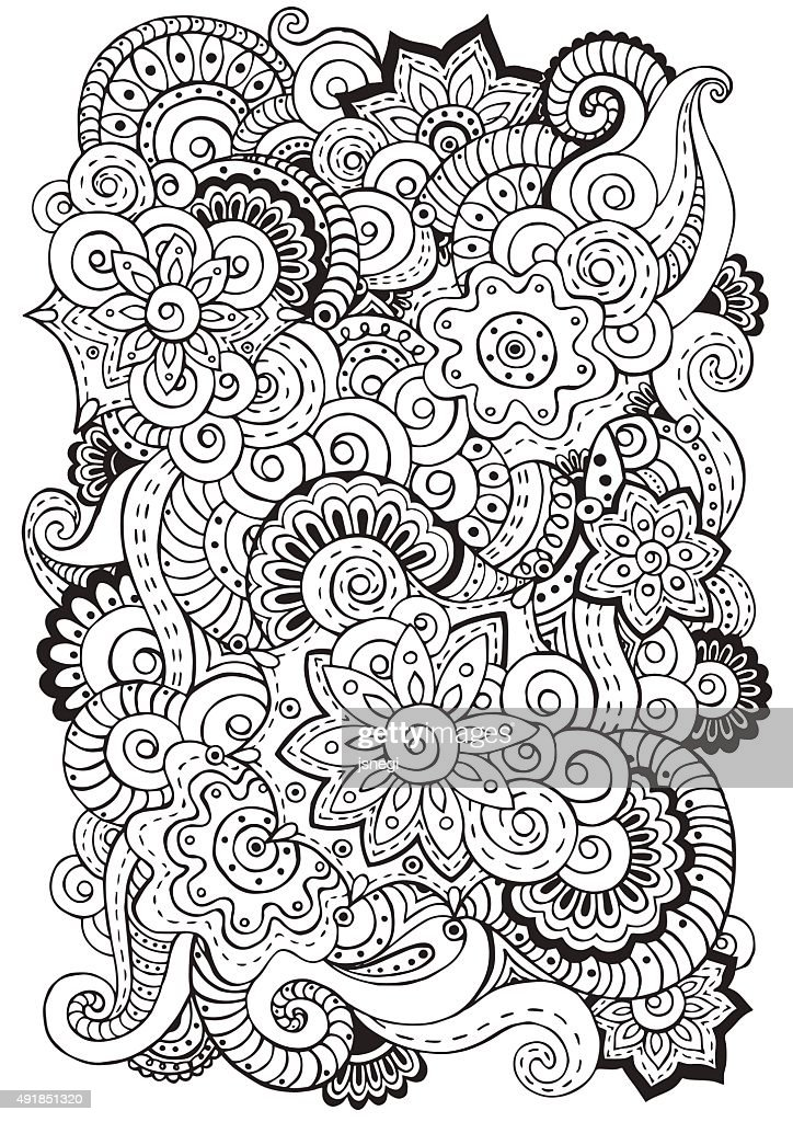 Doodle background in vector with  flowers, paisley.  Black and white.
