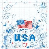 USA doodle background